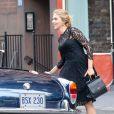 Scarlett Johansson sur le tournage d'une publicité Dolce & Gabbana dirigée par Martin Scorsese à New York, le 13 juillet 2013.