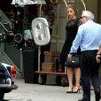 Scarlett Johansson et Martin Scorsese sur le tournage d'une publicité Dolce & Gabbana à New York, le 13 juillet 2013.