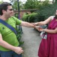 Cécile Duflot et son compagnon Xavier Cantat lors des universités d'été du Parti écologiste à Toulouse, le 23 août 2008.