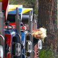 """Gwen Stefani passant la journée au parc """"Berry Farm"""" avec ses parents et ses fils Kingston et Zuma, à Los Angeles le 20 juillet 2013."""