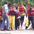 Lady Diana, le prince William et le prince Harry en rafting à Glenwood Springs dans le Colorado en juillet 1995