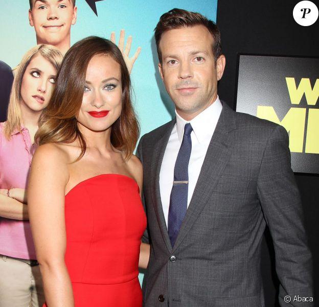 Olivia Wilde et son fiancé Jason Sudeikis lors de l'avant-première du film Les Miller - une famille en herbe, à New York le 1er août 2013