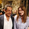 Nicolas Sarkozy et son épouse Carla Bruni - Le couple, tendre et complice a assisté au concert de Julien Clerc dans le cadre du festival de Ramatuelle le 3 août 2013.