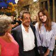 Jacqueline Franjou, Nicolas Sarkozy, Carla Bruni - Les invités ont assisté au concert de Julien Clerc dans le cadre du festival de Ramatuelle le 3 août 2013.