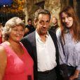 Jacqueline Franjou, Nicolas Sarkozy et Carla Bruni - Les invités ont assisté au concert de Julien Clerc dans le cadre du festival de Ramatuelle le 3 août 2013.