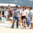 Sylvester Stallone avec sa femme Jennifer Flavin et ses filles Sophia, Sistine et Scarlet arrivent au club 55 à Saint Tropez le 4 août 2013.
