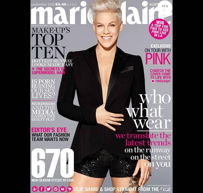 pink en couverture de marie claire dition australienne de septembre 2013. Black Bedroom Furniture Sets. Home Design Ideas