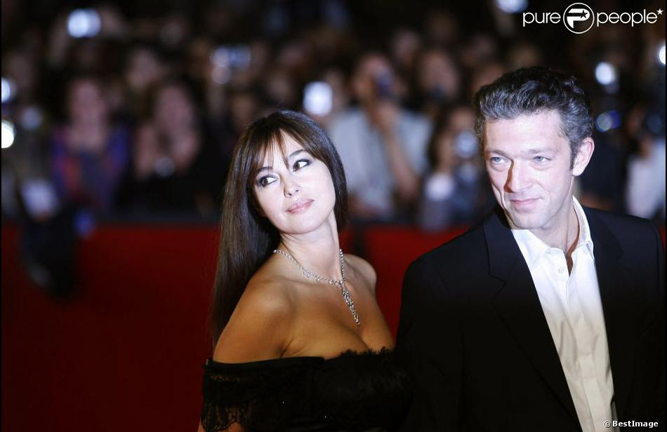 Monica Bellucci et Vincent Cassel à Rome lors du 3e Festival International du film le 23 octobre 2008.