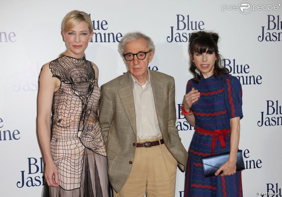 """Cate Blanchett, Woody Allen et Sally Hawkins à la première du film """"Blue Jasmine"""" à l'UGC Bercy, Paris, le 27 août 2013."""