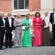 Le roi Carl XVI Gustaf de Suède, Tord Magnuson, la princesse Christina de Suède, la reine Sonja de Norvège, la reine Silvia de Suède - Mariage de Gustaf Magnuson (fils de la soeur du roi Carl XVI Gustaf de Suède) et Vicky Andren au château d'Ulriksdals à Stockholm, le 31 août 2013.