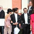 Le prince Carl Philip de Suède et Sofia Hellqvist, le Prince Daniel de Suède - Mariage de Gustaf Magnuson (fils de la soeur du roi Carl XVI Gustaf de Suède) et Vicky Andren au château d'Ulriksdals à Stockholm, le 31 août 2013.