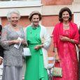 La princesse Christina de Suède, la reine Sonja de Norvège, la reine Silvia de Suède - Mariage de Gustaf Magnuson (fils de la soeur du roi Carl XVI Gustaf de Suède) et Vicky Andren au château d'Ulriksdals à Stockholm, le 31 août 2013.