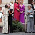 La princesse Victoria de Suède, Tord Magnuson, la princesse Christina de Suède - Mariage de Gustaf Magnuson (fils de la soeur du roi Carl XVI Gustaf de Suède) et Vicky Andren au château d'Ulriksdals à Stockholm, le 31 août 2013.