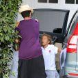 Halle Berry, enceinte et rayonnante, dépose sa fille Nahla chez une amie à Beverly Hills, le 9 septembre 2013