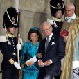Le roi Carl XVI Gustaf de Suède et la reine Silvia au palais royal à Stockholm le 15 septembre 2013 pour le Te Deum du jubilé des 40 ans de règne du souverain suédois.