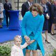 La reine Silvia et la princesse Estelle de Suède lors des festivités organisées au palais royal à Stockholm le 15 septembre 2013 pour le jubilé des 40 ans de règne du roi Carl XVI Gustaf de Suède.