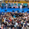Ambiance de fête dans la cour du palais royal à Stockholm le 15 septembre 2013 pour les 40 ans de règne du roi Carl XVI Gustaf de Suède.