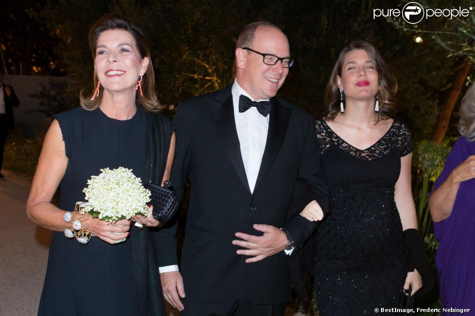 La princesse Caroline de Hanovre, le prince Albert II de Monaco et Charlotte Casiraghi, enceinte - Dîner organisé par les Amis du Nouveau Musée National de Monaco à la Villa Paloma, le 17 septembre 2013.