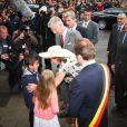 Le roi Philippe et la reine Mathilde de Belgique effectuaient le 17 septembre 2013 à Mons, chef-lieu de la province du Hainaut, la troisième étape de leur tournée Joyeuses entrées.