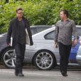 """Exclusif - Brad Pitt avec sa nouvelle coupe de cheveux sur le tournage de son dernier film """"Fury"""" à Londres, le 14 septembre 2013."""