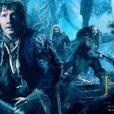 Bilbon et les Nains dans une bannière du film Le Hobbit : La Désolation de Smaug.