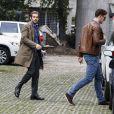 Tomaso Trussardi arrive à la très chic maternité Casa di Cura La Madonnina à Milan pour l'accouchement de sa compagne Michelle Hunziker, le 9 octobre 2013.