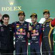 Mark Webber, Sebastian Vettel et Romain Grosjean dans le paddock du Grand Prix du Japon à Suzuka le 13 octobre 2013