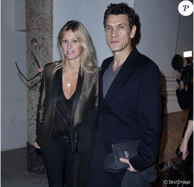 Marc et Sarah Lavoine en janvier 2013 lors du défile Saint Laurent Paris