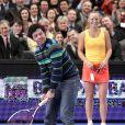 Rory McIlroy et Caroline Wozniacki au Madison Square Garden de New York lors d'un match exhibition le 5 mars 2012