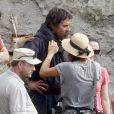 """Christian Bale, barbu et chevelu, sur le tournage du film """"Exodus"""" dans le désert de Tabernas (province d'Almeria) en Espagne, le 22 octobre 2013"""
