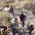 """Christian Bale, bien barbu et chevelu, sur le tournage du film """"Exodus"""" dans le désert de Tabernas (province d'Almeria) en Espagne, le 22 octobre 2013"""