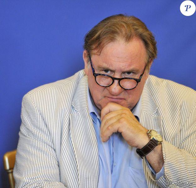 L'acteur francais exilé en Russie, Gérard Depardieu participant à la conférence de presse au Musée Massena à Nice, le 6 juin 2013, presentant la programmation du 1er Festival du Cinéma russe à Nice