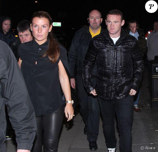 Wayne et Coleen Rooney lors d'un dîner à l'Australasia Bar & Restaurant de Manchester, le 7 novembre 2013 avant d'assister au concert de Jake Bugg