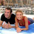Alexandra Lamy et Jean Dujardin à Nice le 24 juillet 2002