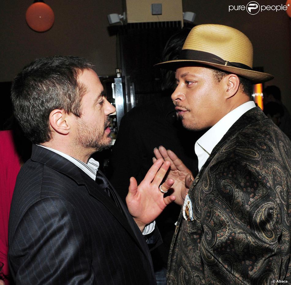 Robert Downey Jr. et Terrence Howard lors de la soirée du film Iron Man à New York le 28 avril 2008