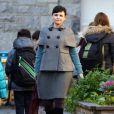 """Exclusif - Ginnifer Goodwin, enceinte sur le tournage de """"Once Upon a Time"""" à Vancouver le 13 novembre 2013"""