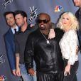 Christina Aguilera, Adam Levine, Cee Loo Green, Blake Shelton, Carson Daly prennent la pose lors de la présentation de la 5e saison de The Voice à Universal City, le 7 Novembre 2013.