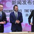 David Beckham, honoré par le Venetian Macao Resort Hotel, y dépose l'empreinte de ses mains. La petite cérémonie a été suivie d'une conférence de presse. Macao, le 22 novembre 2013.