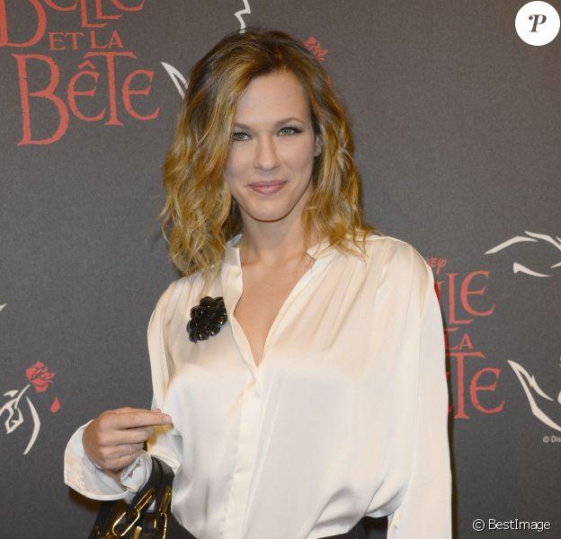 """La chanteuse Lorie (à la générale de la comédie musicale """"La Belle et la Bête"""" au Theatre Mogador à Paris, le 24 octobre 2013."""