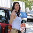 """Courteney Cox sur le tournage du film """"Hello, I Must Be Going"""" à Los Angeles, le 9 juillet 2013."""