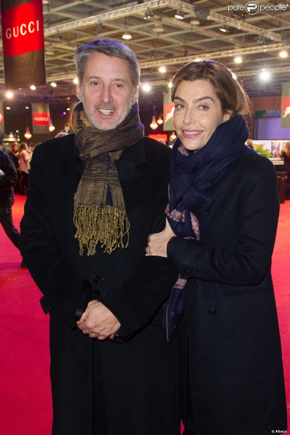 Antoine de Caunes et Daphné Roulier lors du Grand Prix Gucci au dernier jour du Gucci Paris Masters à Villepinte le 8 décembre 2013
