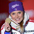 Tessa Worley après sa médaille d'or aux championnats du monde de ski alpin à Schladming, le 14 février 2013