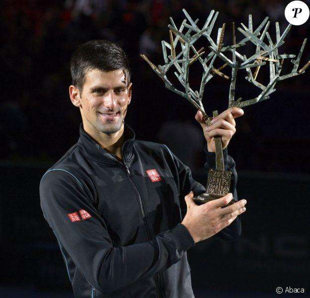 Novak Djokovic après sa victoire au BNP Paribas Masters Series Tennis Open 2013 au Palais Omnisports de Paris-Bercy, le 3 novembre 2013