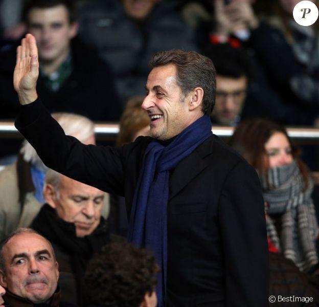 Nicolas Sarkozy au Parc des Princes (Paris) pour le match PSG-Lille, le dimanche 22 décembre 2013.