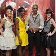 """""""Exclusif - Satya Oblette, en charmante compagnie lors du défilé de la marque Almire à Paris, le 15 décembre 2013."""""""
