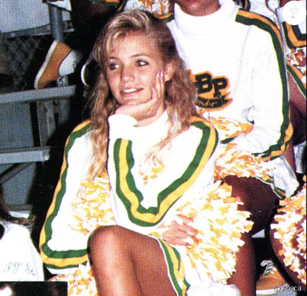 Cameron Diaz pom-pom girl en 1988 à la Long Beach Polytechnic High School, Long Beach, Los Angeles.