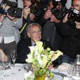 Bernard Pivot et Henri Decoin lors du prix Goncourt et Renaudot 2013 au restaurant Drouant à Paris. Le 4 novembre 2013.