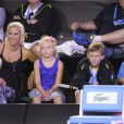 La famille de Lleyton Hewitt, sa femme Beck et leurs enfants lors du Kids' Day de l'Open d'Australie à Melbourne le 11 janvier 2014.