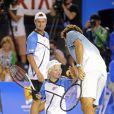 Roger Federer, Lleyton Hewitt et son fils Cruzlors du Kids' Day de l'Open d'Australie à Melbourne le 11 janvier 2014.