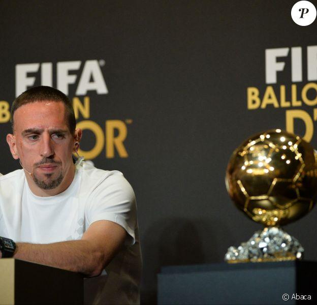 Franck Ribéry lors de la conférence de presse du Ballon d'Or au Palais des Congrès de Zurich, le 13 janvier 2014